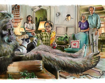 "Harry and the Hendersons - He Didn't Care for the Blue Cheese  5""x11"" Poster Print"