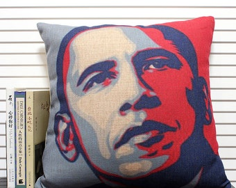 Obama pattern Cotton Linen Pillow Cover, Cushion cover,Decorative Pillow Case, Cushion Cover