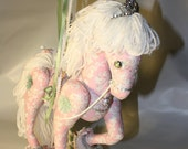 RESERVED LISTING  Patsey, Playful Pink and White Paisley Carousel Horse