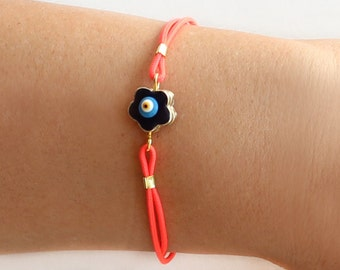 Evil eye bracelet, turkish nazar, blue evil eye, string bracelet, neon pink, flower evil eye, evil eye jewelry, ethnic, best friend gift