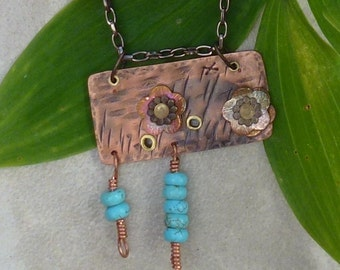 Copper Floral Statement Pendant #Turquoise Beads