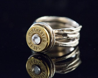 """Bullet Ammo Wincester 38 special Sterling Silver ladies 8-""""38 Special Artisan"""" Free U.S."""