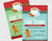 COOKIE EXCHANGE INVITATIONS Christmas Party (print your own) Personalized Holiday Printable