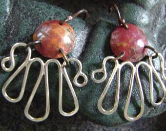 BLACK EYED SUSAN - Silver and Copper Earrings, Earrings, Flower Earrings, Mixed Metal, Artisan Jewelry, Silver Petals, Sterling Silver