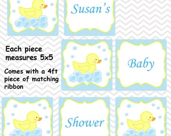 Rubber Duck Blue - Personalized Baby Shower Banner