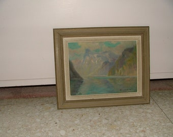 LAKE LUCERNE SWITZERLAND 1930s Framed Impressionist Lake And Mountains Painting