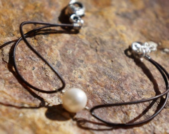 Pearl and Leather Bracelet ~  Simply Leather Collection