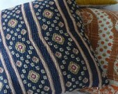 Vintage Kantha Cushion Cover Black Geometric Stripes - Medium