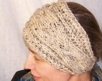 Knitting PATTERN-Handmade Knit Headband for Women-Head Scarf-Cabled Headwrap Ear Warmer with Button-DIY Head Band-DIY Earwarmer