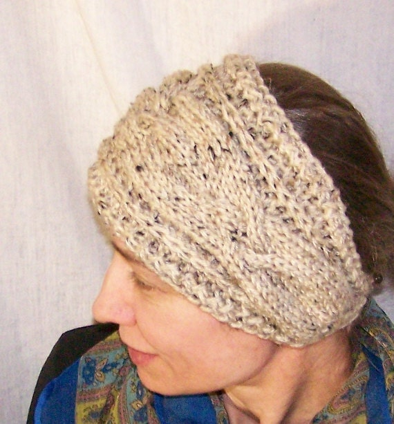 Knit Headband Pattern With Button : Knitting PATTERN-Handmade Knit Headband for Women-Head