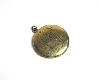 Gold Filled Round Engraved Round Locket Pendant Charm