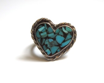 Sterling Silver Signed Native American Turquoise Heart Ring - Size 6 - Weight 6 Grams - REDUCED # 2268