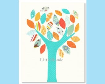 BABY BOY NURSERY, Nursery Art Print, Orange Nursery Prints, Aqua Nursery Decor, Nursery Tree Print, Vibrant Colours
