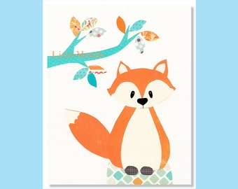 BABY BOY NURSERY Prints, Fox Nursery Print, Orange Nursery Prints, Aqua Nursery Decor, Vibrant Colors, Forest Animals