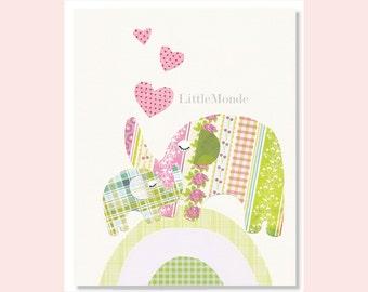 "NURSERY ART PRINT Decor 8x10"" Personalized Nursery Print Baby Girl Room Decor Elephant Nursery Art Pastels Pink Green Beige"