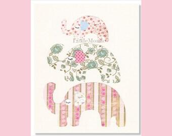 Baby Girl Nursery Art, NURSERY ART PRINTS, Elephant Nursery Prints, Rose Nursery, Soft Pastels, Retro, Toddler Girl Decor