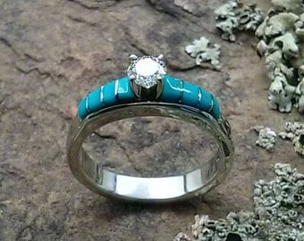Dainty Turquoise Diamond Solitaire Engagement Ring - made to order