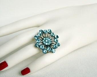 art deco blue clear crystal swarovski  rhinestone tibetan silver plated adjustable ring wedding jewelry bridal jewelry bridesmaid gifts
