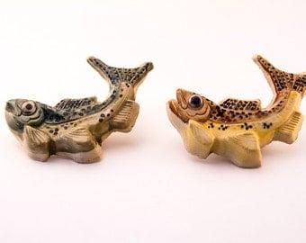 Handmade 3D fish tile, ceramic, multi colored, semi-realistic