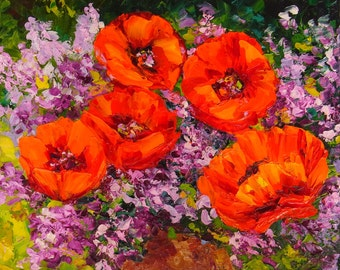 Flower Still Life - Red Poppies and Lilacs - Palette Knife Impasto Textured Oil Painting on Ready to Hang Small Canvas 8x10