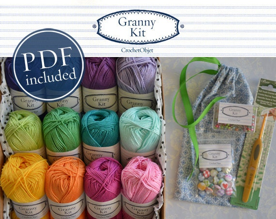 Grand Granny Kit - diy Colourful Crochet Kit, including PDF Pattern ready to ship by CrochetObjet
