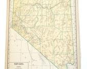 Nevada or Nebraska State Map, vintage maps, 1940
