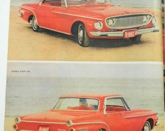 Dodge Dart Ad From 1962 - Vintage Magazine Ad - Sporty Red Car - Man Cave Wall Art