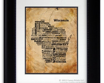 Housewarming gift WISCONSIN State, Wisconsin Map Cities & Towns - Unique Vintage Style Typography Poster, Birthday gift for him
