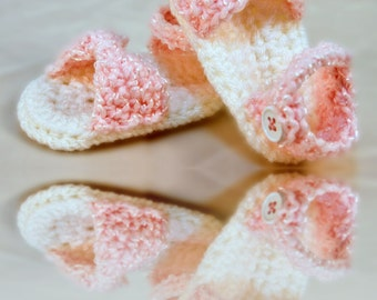 Handmade Baby Girl Crochet Sandals with bow, pink shoes, any color, Infant booties, newborn-12 months