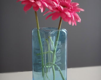 Cyan Blue Bombay Sapphire Glass Bottle Flower Vase