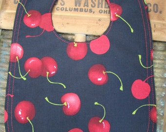 Sweet cherries baby bib / Reversible baby bib / polka dots bib