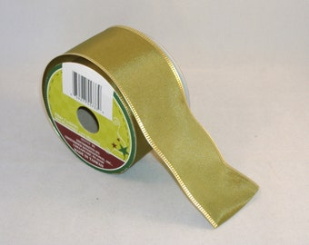 Olive Green Polyester Ribbon With Gold Wire Edge Ribbon, 2 Inches Wide - BTY - Destash