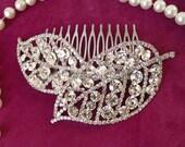 wedding hair comb, rhinestone leaf hair comb, bridal hair comb, crystal wedding hair accessories, bridal hair piece