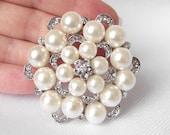 Pearl Wedding brooch, rhinestone brooch, bridal brooch, bridal sash pin, bridal brooch bouquet, pearl brooch, bridal jewelry, crystal brooch
