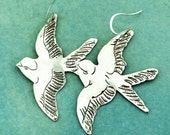 Silver Bird Shaped Hand Chased Dangle Earrings