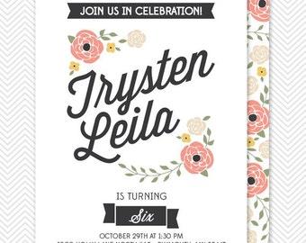 DIY Floral Birthday Invitation