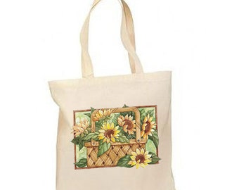 Sunflower Basket Autumn Fall New Lightweight Cotton Tote Book Bag