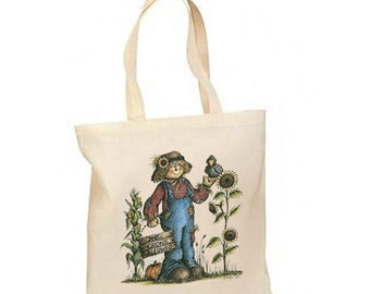 Crows Allowed Scarecrow Autumn New Lightweight Cotton Tote Book Bag