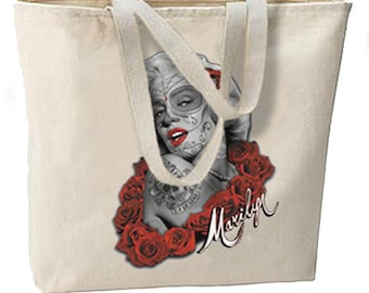 Sugar Skulls Marilyn New Oversize Tote Bag, All Purpose, Pop Culture Cool