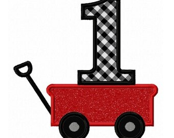 Instant Download Wagon Number 1 Applique Machine Embroidery Design NO:1386