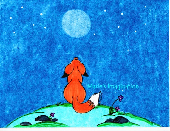 Fox/Moon Greeting Cards - Note Cards. Includes White Envelopes. Blank Inside.
