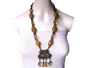 PERSIASION' Mediterranean style ornate pendant beaded necklace