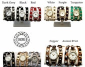 Studded Leather Wrap Watch