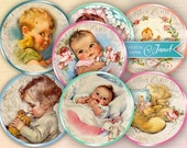 BABY - 2.5 inch circles - set of 12 - digital collage sheet - pocket mirrors, tags, scrapbooking, cupcake toppers