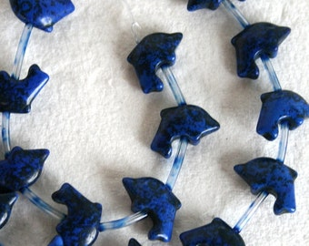 Full Strand of Darling Lapis Turquoise Magnesite Dolphin Beads