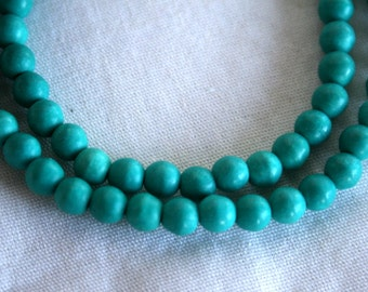 6 mm Full Strand of Sea Green Turquoise Howlite Magnesite Round Beads
