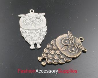 4pcs-34mm Antiqued Bronze,Silver Brass Owl charms,Pendants(A132-C)