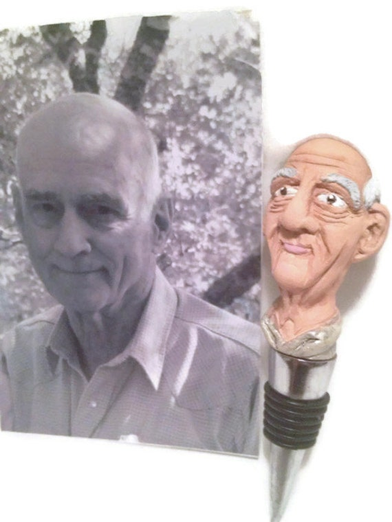 Custom Sculpted Wine Stoppers: sculpture modeled after photograph, one of a kind READ DESCRIPTION!!!