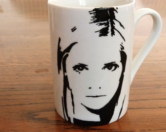 Buffy The Vampire Slayer, Sarah Michelle Gellar, Hand Painted Cup, Hand Printed Cup