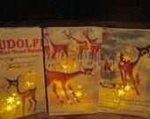 4 Large Luminaries, Vintage Christmas, Rudolph the Red Nosed Reindeer, Vintage Rudolph, Christmas Decorations, Snowflake Luminaries